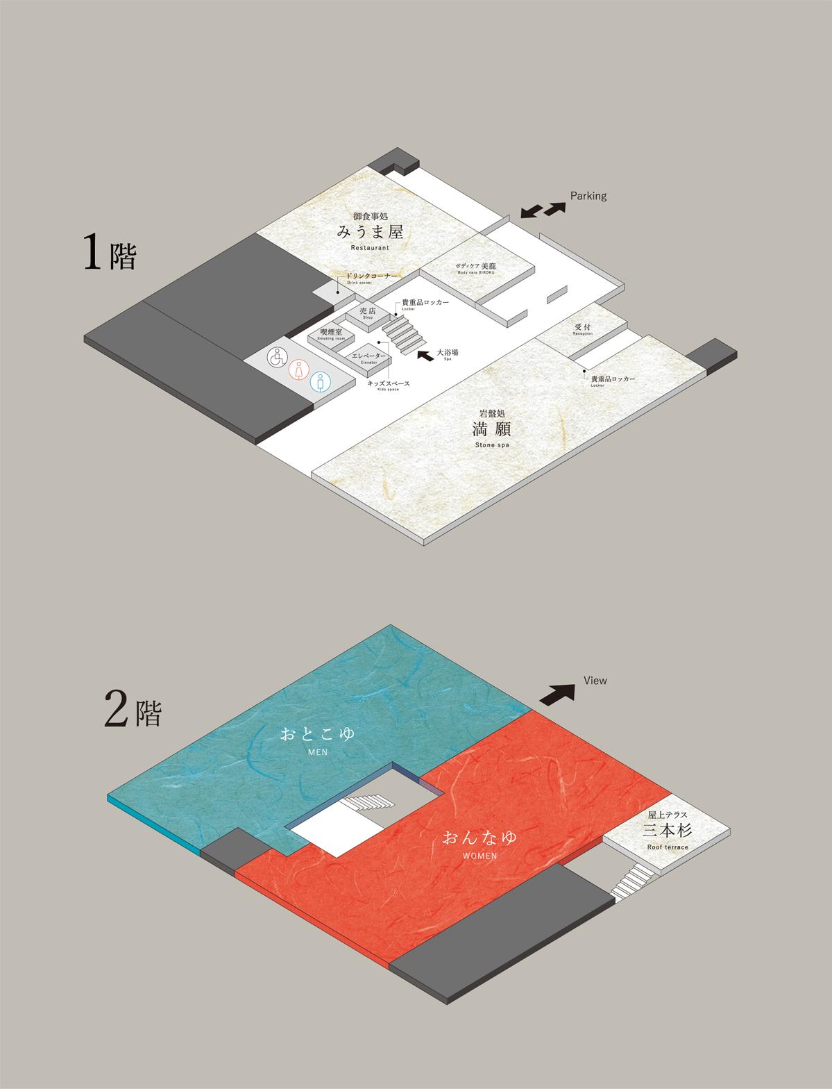 館内図(1階 エントランス、岩盤浴「満願」、御食事処「みうま屋」 2階 天王平温泉「神馬の湯」、屋上テラス「三本杉」