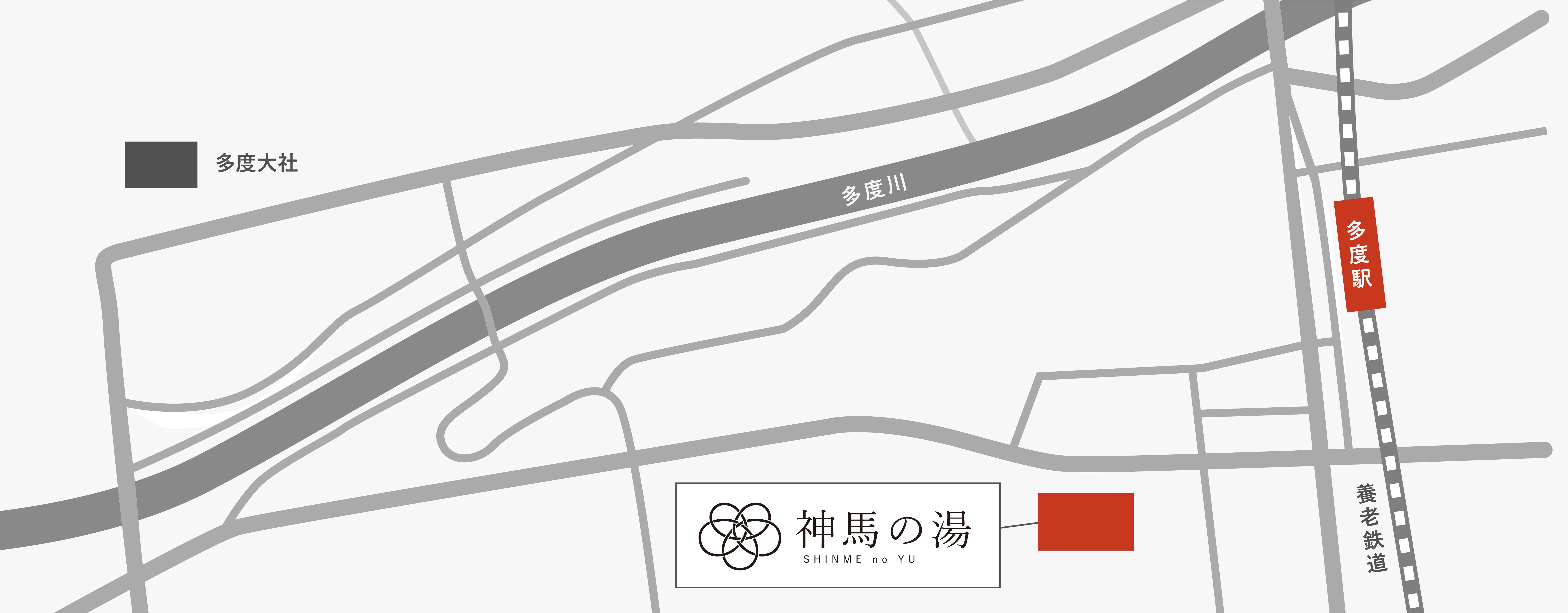多度駅からの神馬の湯までの地図
